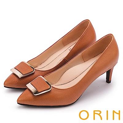 ORIN 典雅氣質 梯形金屬釦環羊皮高跟鞋-棕色