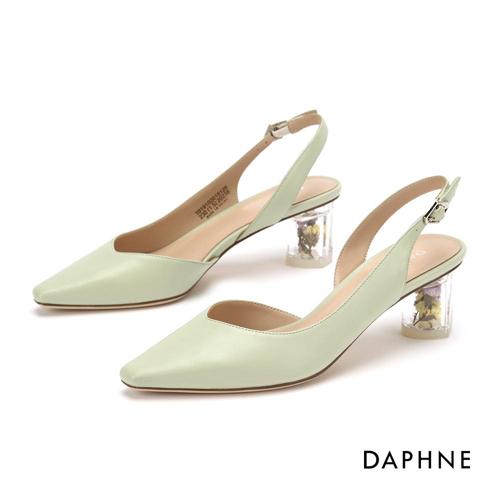 達芙妮 高跟鞋-春氛花漾縷空尖頭粗跟鞋- 綠