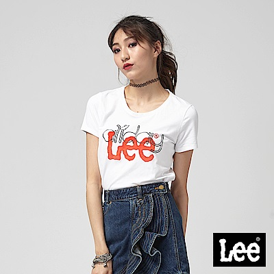 Lee 植絨LOGO 羅紋拼接短袖圓領T恤/RG-白