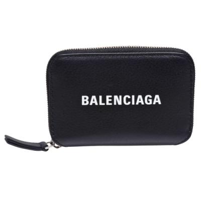 BALENCIAGA Everyday系列品牌字母LOGO小牛皮拉鍊信用卡夾/零錢包(黑)