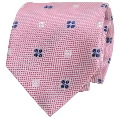 DAKS 經典品牌DD圖騰領帶(粉底/藍紋)