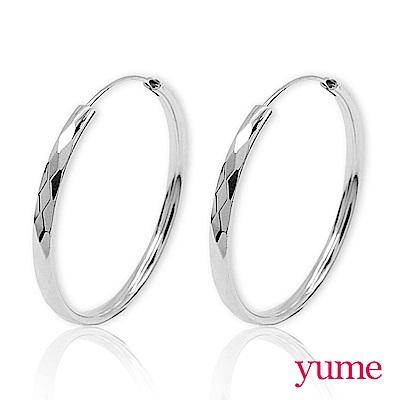 YUME - 菱格紋大圈圈耳環(40mm)