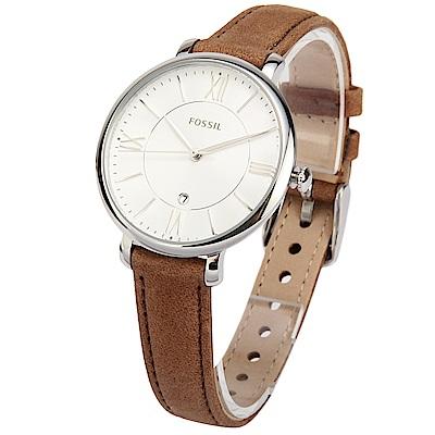 FOSSIL Jacqueline 羅馬時標棕色皮革腕錶-(ES3708)-36mm