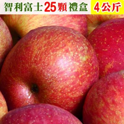 愛蜜果 智利富士蘋果25顆禮盒(約4公斤/盒)