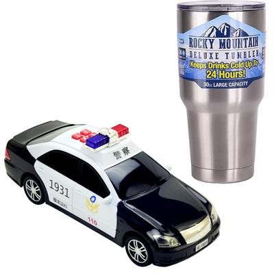 《警備車隊系列-警車》燈光音效錄音功能磨輪車+冰霸杯組