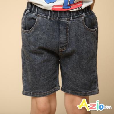 Azio Kids 男童 短褲 基本款鬆緊牛仔短褲(黑)