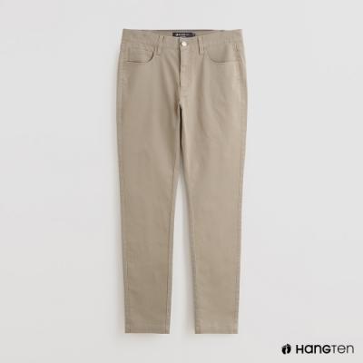 Hang Ten - 男裝 - 簡約素面修身休閒長褲 - 卡其