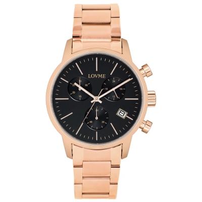 LOVME 城市獵人不鏽鋼三眼時尚手錶-IP玫x黑/43mm