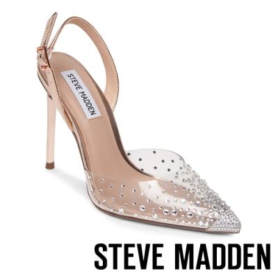 STEVE MADDEN-RECORD 氣質迷人 透明亮鑽後繫帶細跟高跟鞋-透明金