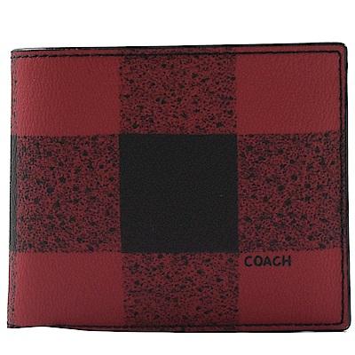 COACH 格子圖樣附活動卡夾PVC短夾(紅黑)