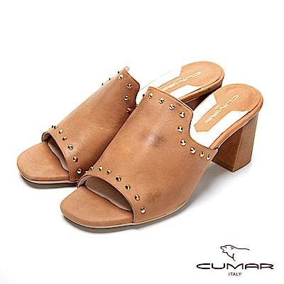 CUMAR復古典雅-鉚釘深口粗跟涼鞋
