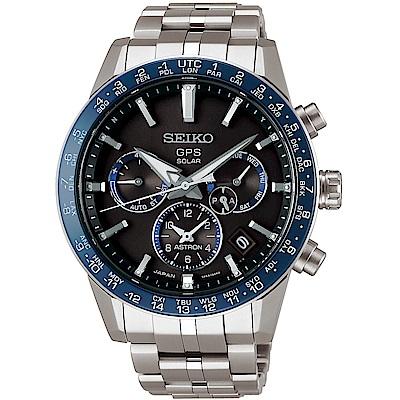 SEIKO精工 Astron 5X53鈦金屬雙時區GPS衛星定位錶(SSH001J1)-藍