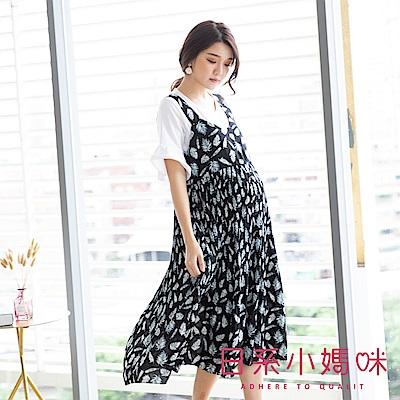 日系小媽咪孕婦裝-韓製孕婦裝~復古印花雪紡百褶裙襬吊帶洋裝 (共二色)