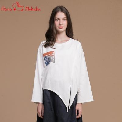 Hana-Mokuba-花木馬日系女裝寬鬆上衣_米白/中藍