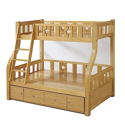 綠活居 麥戈3.5尺實木單人雙層床台組合(含四抽收納櫃)-130x200x180cm免組