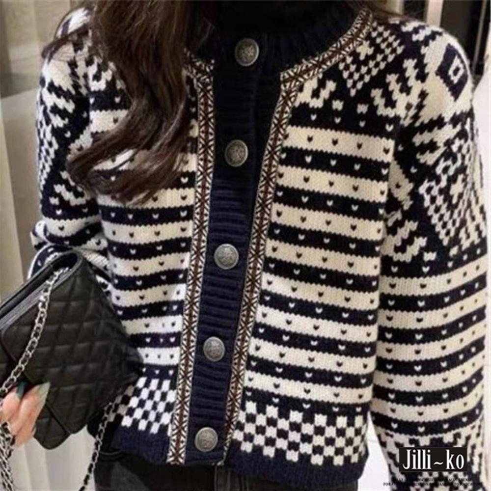 JILLI-KO 復古條紋短款針織外套- 黑色