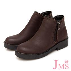 JMS-經典復古擦色造型雙側拉鍊短靴-咖啡色