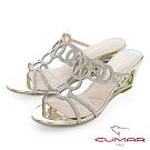 【CUMAR】情迷哈瓦那 - 眼睛鑽飾特殊鏤空楔型跟鞋-金