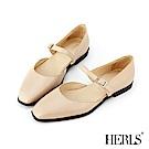 HERLS 全真皮復古小方頭瑪莉珍平底鞋-米色
