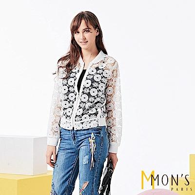 MONS 鏤空蕾絲撞布休閒外套