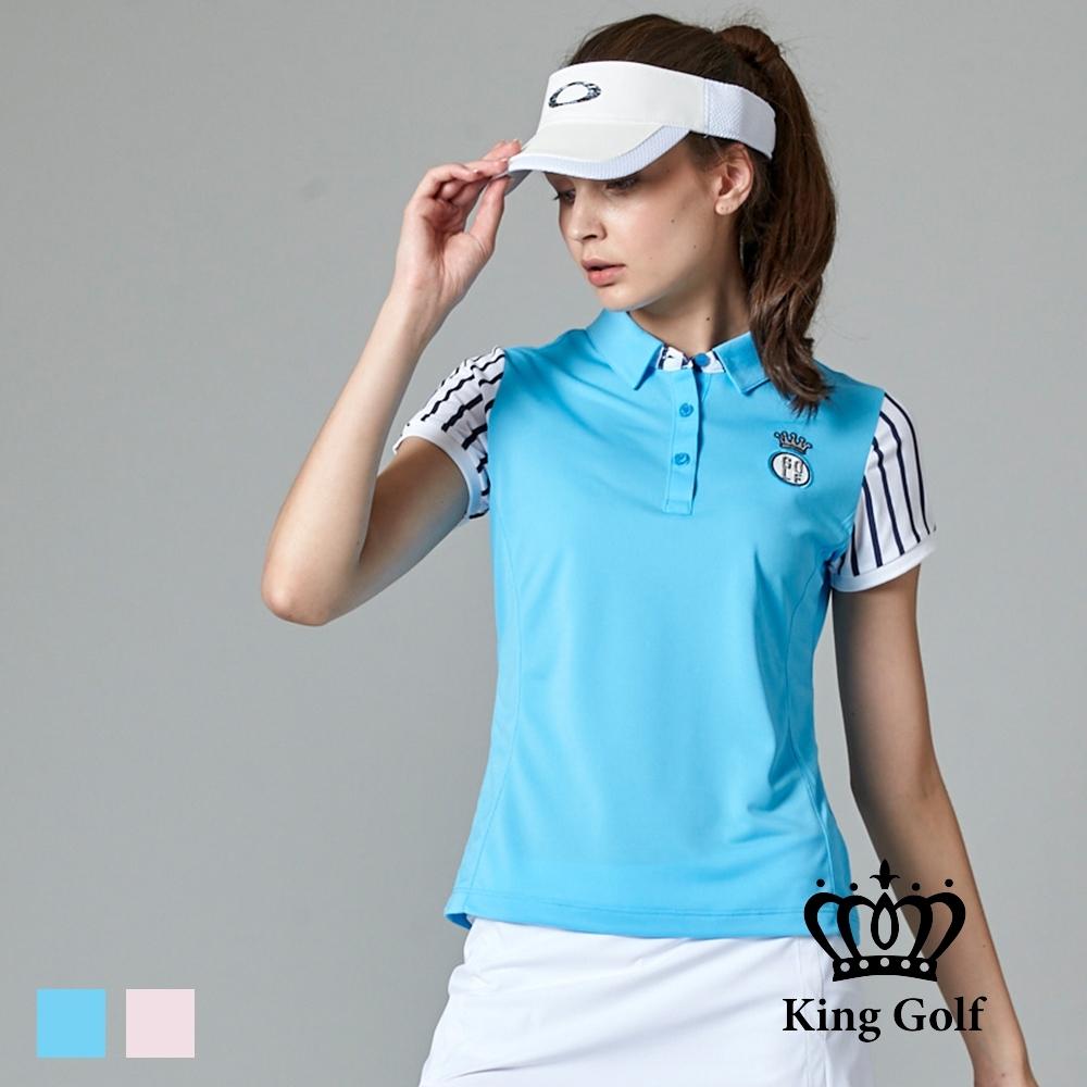 【KING GOLF】刺繡LOGO條紋袖拼接造型POLO衫-藍