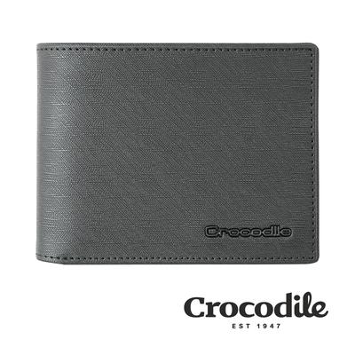 Crocodile 鱷魚皮件 真皮皮夾 維也納Wien系列 8卡 壓釦零錢 中翻 短夾-0103-10403-黑色