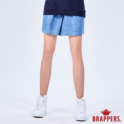 BRAPPERS 女款 Boy friend系列-鬆緊帶寬版五分褲-藍