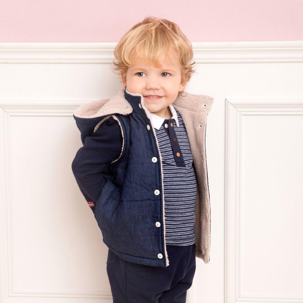 奇哥 親愛夥伴雙面舖棉背心外套-藍(1-5歲)