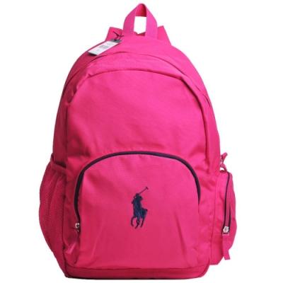 POLO Ralph Lauren 品牌LOGO圖騰刺繡尼龍新款後背包(粉桃紅/深藍馬)