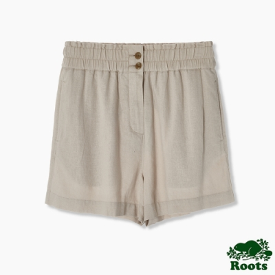 Roots 女裝- 摩登週間系列 高腰鬆緊褲頭亞麻短褲-米色