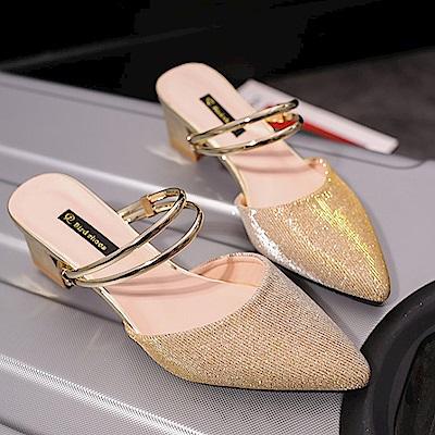 KEITH-WILL時尚鞋館 甜心英倫風閃亮百搭粗跟鞋-金色