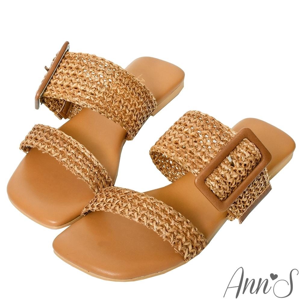 Ann'S訂製大方扣編織方頭平底涼拖鞋-棕