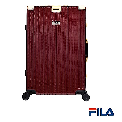 FILA 20吋經典限量款碳纖維飾紋系列鋁框行李箱-紅金