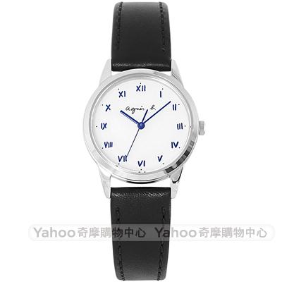 agnes b.簡約手寫時標真皮手錶BU9030P1-白X黑/27mm