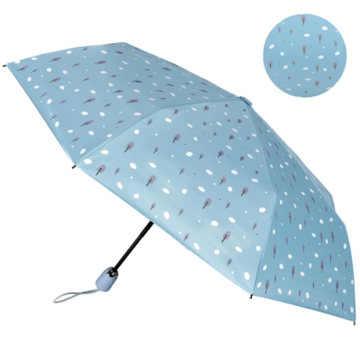 2mm 100%遮光 趣味森林 黑膠降溫自動開收傘 (雲朵藍)
