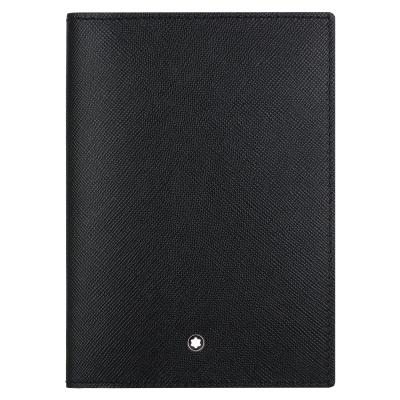 MONTBLANC 萬寶龍十字紋牛皮護照夾-黑色 113232