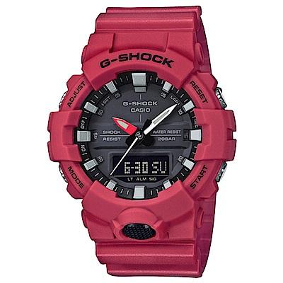 G-SHOCK 絕對強悍輕薄3D雙顯運動錶(GA-800-4A)-紅/48.6mm