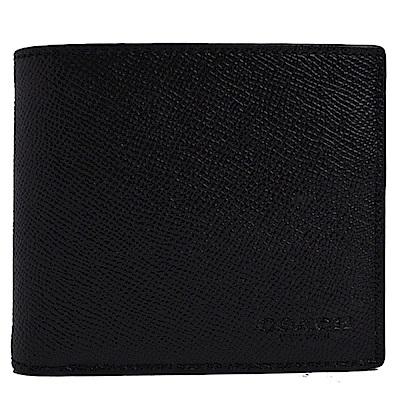 COACH 經典烙印LOGO 防刮全皮革掀開式短夾-質感黑(附可拆式證件夾)