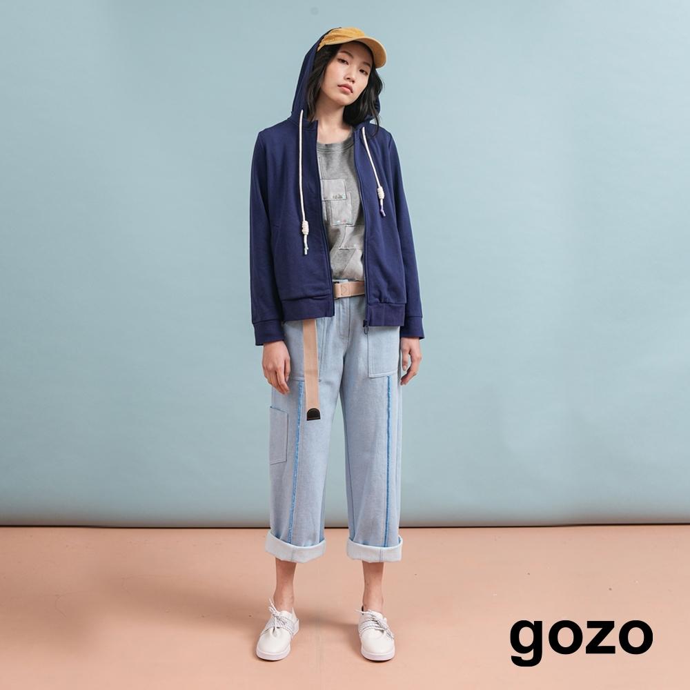 gozo 配色抽鬚壓線直筒褲(二色) product image 1