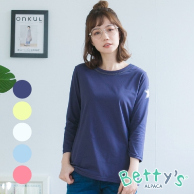 betty's貝蒂思 領口蔞空拼接星星七分袖上衣(共5色)