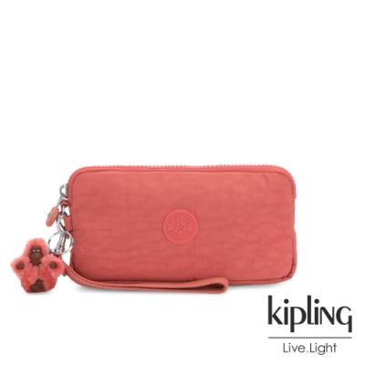 Kipling 甜美珊瑚粉色手拿包-LOWIE