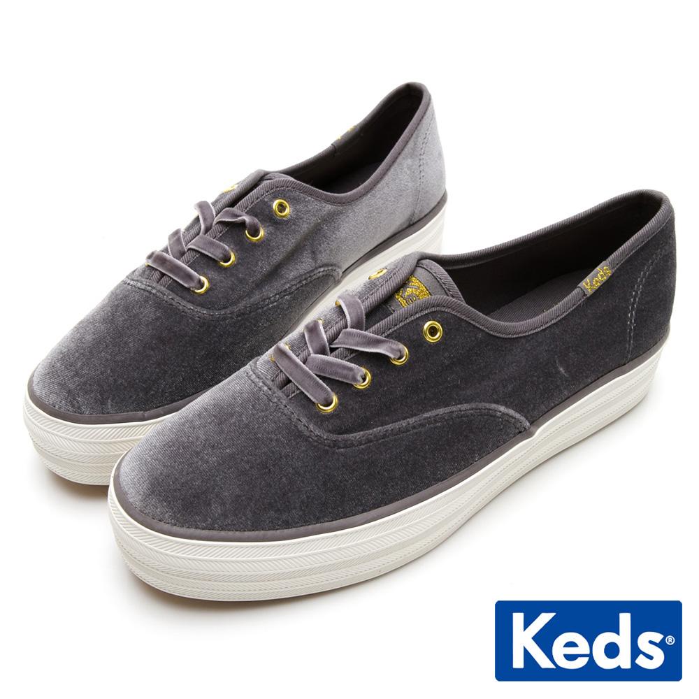 Keds TRIPLE 天鵝絨厚底休閒鞋-灰