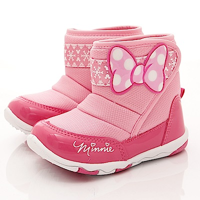 迪士尼童鞋 雪花米妮短靴款 FO54613桃粉(中小童段)
