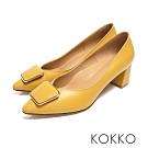 KOKKO - 赫本優雅金扣小方頭粗跟鞋-秋葉黃