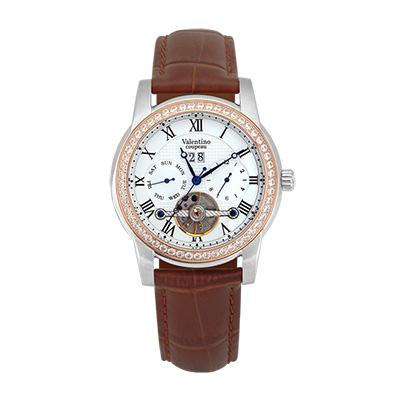 Valentino Coupeau 范倫鐵諾 古柏 閃耀晶橋機械錶 (半玫殻/白面/咖帶)