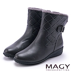 MAGY 經典復古樂活 羊皮側邊縫線厚底短靴-灰色