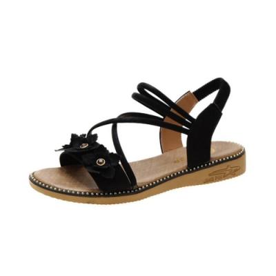 KEITH-WILL時尚鞋館 獨家款花朵涼鞋-黑