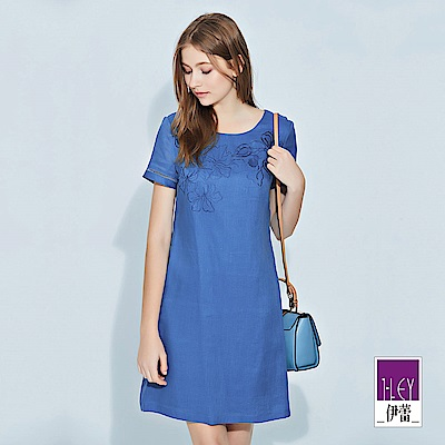 ILEY伊蕾 精緻花卉刺繡微縷空亞麻洋裝(藍/綠)