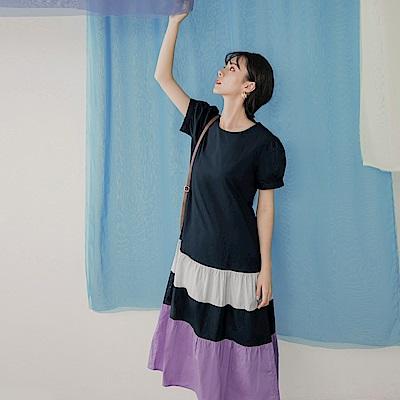 高含棉層次寬鬆傘襬拼色短袖長洋裝-OB嚴選