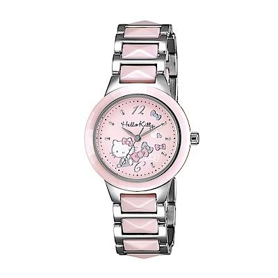 HELLO KITTY 凱蒂貓 甜美簡約陶瓷手錶-粉x粉銀/32mm